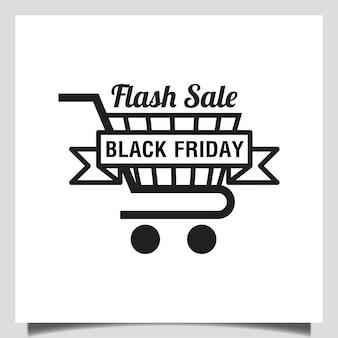 Wektor projektowania logo koszyka na zakupy w czarny piątek flash event sprzedaż logo
