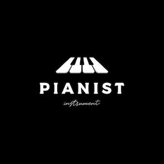 Wektor projektowania logo muzyki fortepianowej
