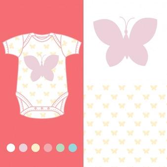 Wektor projektowania mody dla dziecka nosić kolekcji motyla
