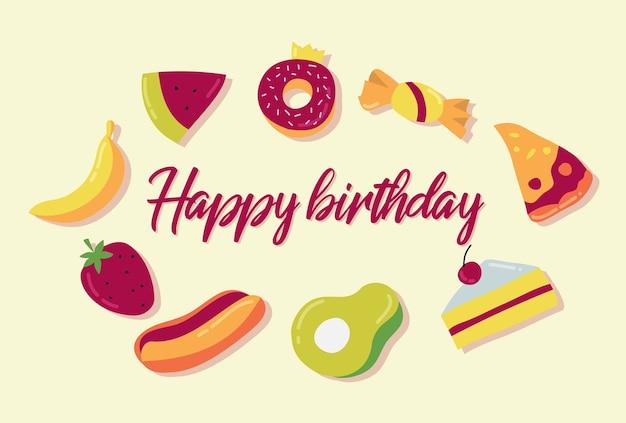 Wektor projektowania żywności i ciastko z okazji urodzin pozdrowienia