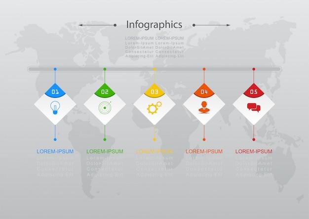 Wektor projektu infograficznego kroki lub procesy koncepcji biznesowej mogą być używane do układu przepływu pracy, schematu, raportu rocznego, projektowania stron internetowych