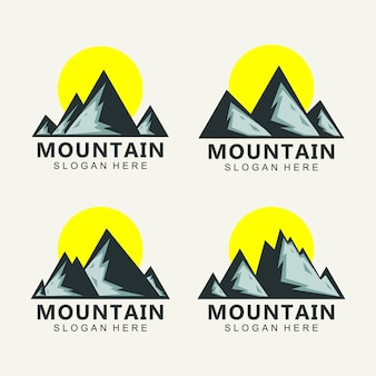 Wektor projektu logo góry o zachodzie słońca
