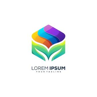 Wektor projektu logo w kolorze sześciokątnego liścia