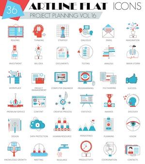 Wektor projektu planowania biznesowego ultra nowoczesny zarys linii płaskiej ikony dla sieci i aplikacji.