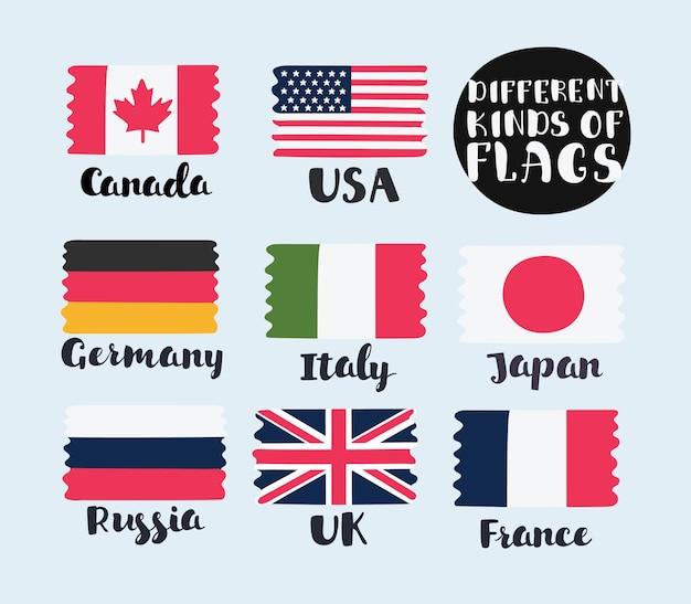 Wektor proste flagi krajów