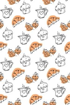 Wektor prostokątny wzór z ciastko rogaliki i filiżankę kawy w stylu doodle
