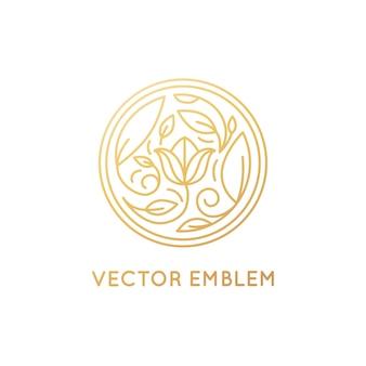 Wektor prosty i elegancki emblemat logo w modnym stylu liniowym