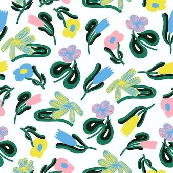 Wektor prosty i nowoczesny skandynawski kolorowy kwiat ilustracja bezszwowe powtarzalny wzór