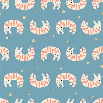 Wektor prosty i uroczy kot zwierzę ilustracja motyw powtarzalny wzór dla dzieci tkaniny tekstylne