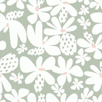 Wektor prosty i uroczy skandynawski kwiat ilustracja bezszwowe powtórzenie wzoru letni wystrój domu