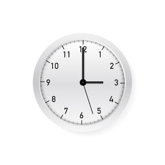 Wektor prosty klasyczny biały i biały okrągły zegar ścienny