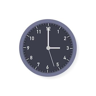 Wektor prosty klasyczny czarno-biały okrągły zegar ścienny