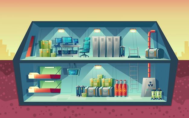 Wektor przekrój tajnego bunkra, wnętrze laboratorium naukowego do tworzenia.