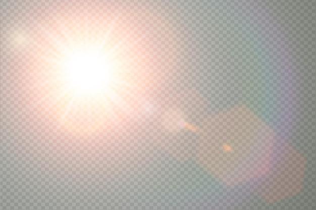 Wektor przezroczyste światło słoneczne specjalny efekt flary obiektywu. błysk słońca z ciepłymi promieniami i światłem punktowym. streszczenie półprzezroczysty element wystroju. na białym tle wybuch gwiazdy na niebie.