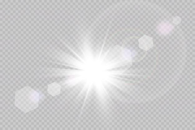 Wektor przezroczyste światło słoneczne specjalny efekt świetlny flary.