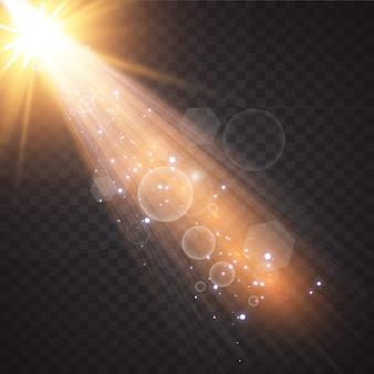 Wektor przezroczystego światła słonecznego specjalnej lampy błyskowej efekt przedniego światła słonecznego.