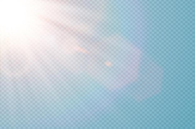 Wektor przezroczysty światło słoneczne specjalny flary. streszczenie ukośne słońce półprzezroczysty efekt świetlny. na białym tle przezroczyste tło. element dekoracyjny blask. promienie rozbłysku gwiazd i reflektory.