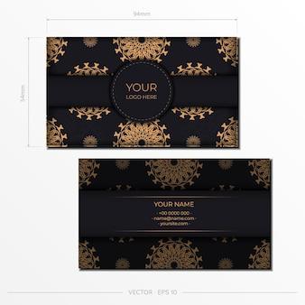 Wektor przygotowanie wizytówek z luksusowymi wzorami. projekt wizytówki w kolorze czarnym z greckim ornamentem.