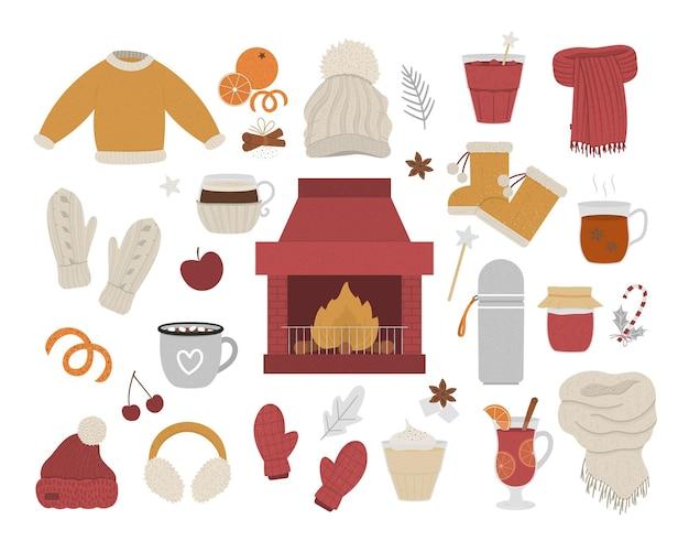 Wektor przytulny zimowy zestaw z kominkiem i ogniem w centrum. ocieplenie ilustracji obiektów. przedmioty na zimę. jedzenie, napoje, przyprawy i ubrania na rozgrzewkę na białym tle.