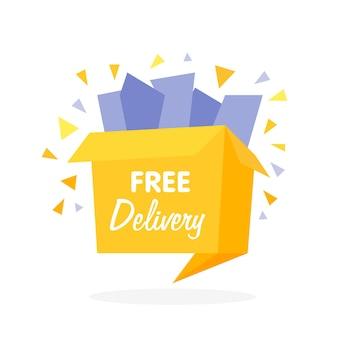 Wektor pudełko z ikoną bezpłatnej wysyłki - zakupy w internecie