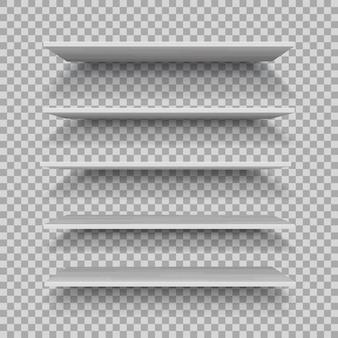 Wektor pusta biała półka z tworzywa sztucznego na białym tle