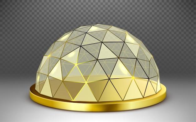 Wektor pusta szklana kulista kopuła. okrągła szklana kopuła ze złotą ramą