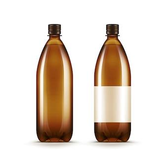 Wektor puste brązowe plastikowe butelki wody kwas chlebowy piwa