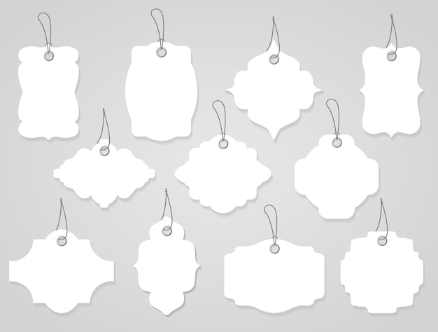 Wektor puste etykiety lub tagi białe z linami