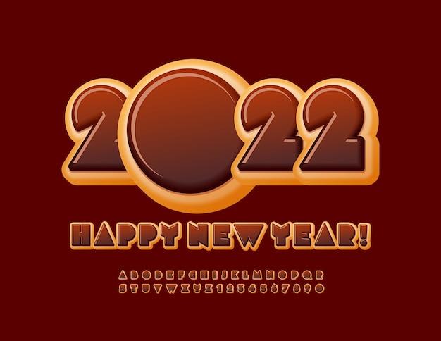 Wektor pyszne kartkę z życzeniami szczęśliwego nowego roku 2022 ciasto czekoladowe zestaw czcionek pączek alfabet
