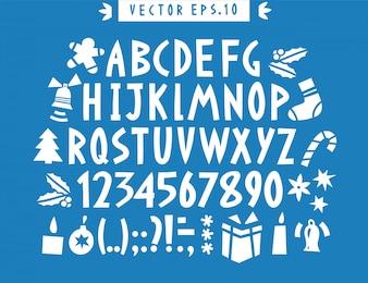 Wektor ręcznie rysowane zabawny alfabet. Ręcznie rysowane łacińskie litery, cyfry i ikony Bożego Narodzenia. Świąteczne napisy.