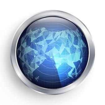 Wektor radarowy. azja. abstrakcjonistyczna radarowa ilustracja. ekran celu kosmicznego hightech