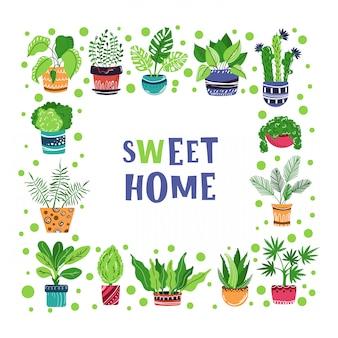 Wektor rama kreskówka dom doniczkowy rośliny. literowanie