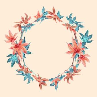 Wektor ramki japońskiego liścia klonu, remiks z dzieł autorstwa megaty morikaga