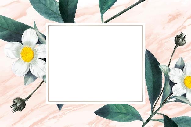Wektor ramki kwiatów i owoców z przestrzenią projektową