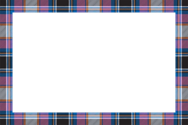 Wektor ramki. szkocka granica wzór w stylu retro. obramowanie w kratę w szkocką kratę.