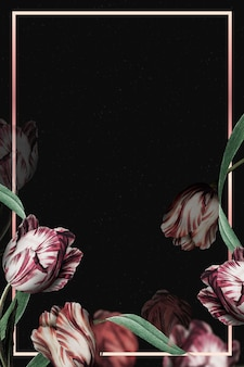 Wektor ramki tulipan na czarnym tle