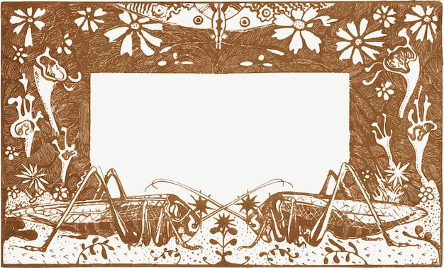 Wektor ramki vintage grasshopper, remiks z dzieł theo van hoytema