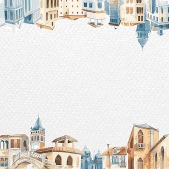 Wektor ramki z architektonicznymi budynkami śródziemnomorskimi w akwareli na białym papierze teksturowanym tle