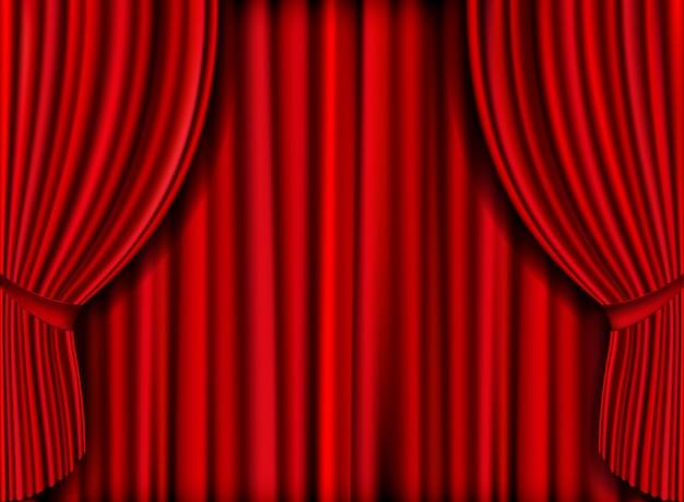 Wektor realistyczna czerwona kurtyna na premiery produktu
