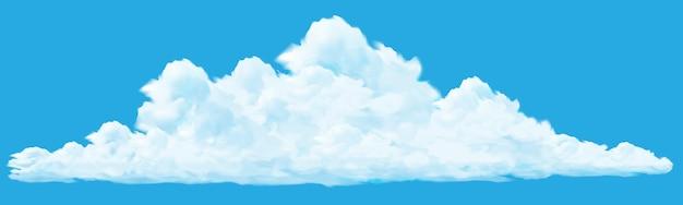 Wektor realistyczne duże białe chmury na tle błękitnego nieba.