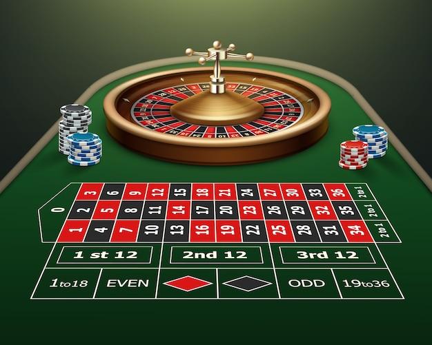 Wektor realistyczne kasyno stół do ruletki, koło i czarne, czerwone, niebieskie żetony na białym tle na zielonym tle