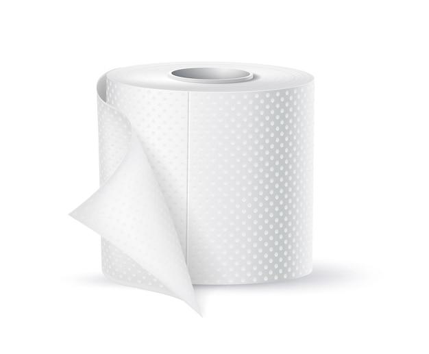 Wektor realistyczne rolki papieru toaletowego. pusta makieta produktu do higieny toalet. miękki w dotyku papier toaletowy.