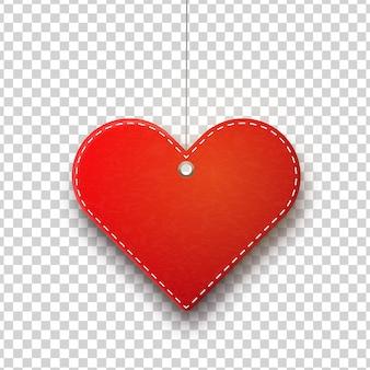 Wektor realistyczne wiszące serce na białym tle metka z ceną