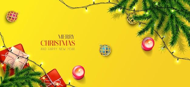 Wektor realistyczny baner wesołych świąt i szczęśliwego nowego roku ze świątecznymi elementami pozioma orientacja