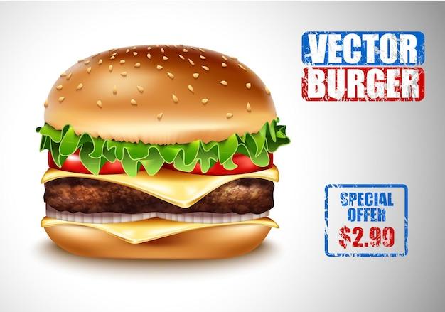 Wektor realistyczny hamburger. klasyczny burger american cheeseburger z sałatą, pomidorem, cebulą, serem, wołowiną na białym tle. reklama cenowa menu fast food. mięso wołowe i świeże warzywa ekologiczne.