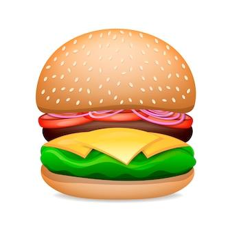 Wektor realistyczny hamburger klasyczny burger