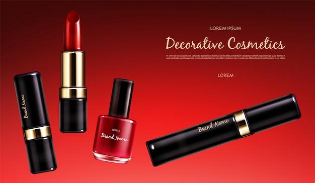 Wektor realistyczny kosmetyczny plakat promocyjny. sztandar z żeńską kolekcją makeup kosmetyki, szkarłatna pomadka, lakier do paznokci i tusz do rzęs na czerwonym tle. produkty do jasnego makijażu