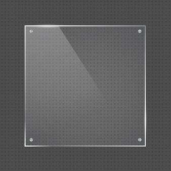 Wektor realistyczny kwadratowy błyszczący kształt szklanej ramki z małymi srebrnymi gwoździami na przezroczystym tle