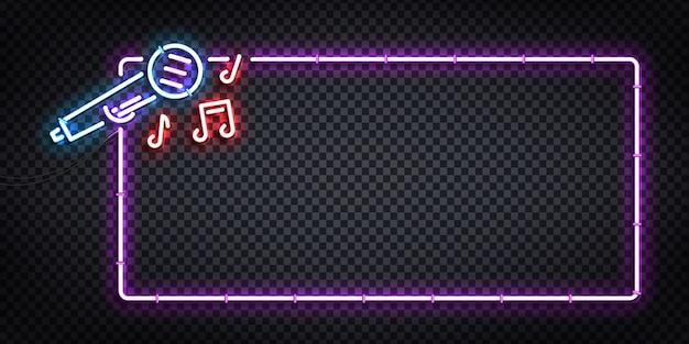 Wektor realistyczny neon na białym tle logo ulotki karaoke do dekoracji szablonu i pokrycia zaproszenia. koncepcja klubu nocnego i imprezy.