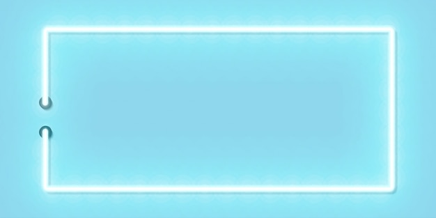 Wektor realistyczny neonowy znak na białym tle niebieskiej panoramicznej ramki prostokąta dla szablonu i układu w niebieskiej przestrzeni.